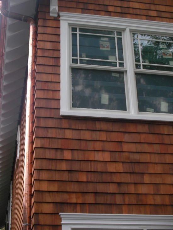 AZ Best Roofing self-sustainable cedar shake siding and copper gutters Cos Cob CT